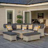 2019 Bramblecrest Monterey Outdoor Sofa Set With Adjustable Square Dining Table on decking with candle on table