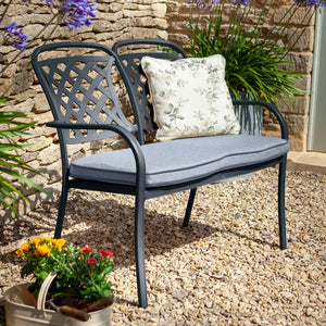 2019 Hartman Berkeley 2 Seater Garden Bench With Faux Leather Water-Resistant Cushion - Antique Grey/Platinum
