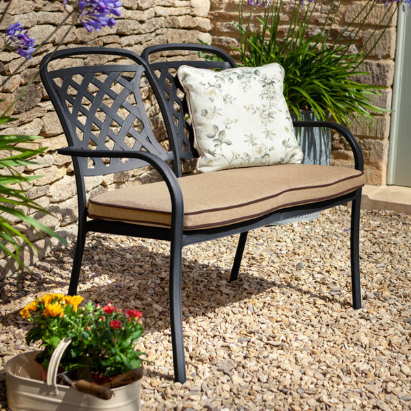 2019 Hartman Berkeley 2 Seater Garden Bench With Faux Leather Water-resistant Cushion - Bronze/Amber