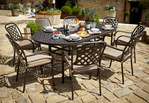 2018 Hartman Berkeley 8 Seat Dining Set with oval Table - Bronze - wide angle