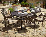 2018 Hartman Berkeley 8 Seat Dining Set with oval Table - Bronze - in courtyard