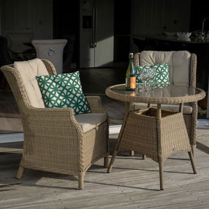 Side view of Oakridge 80cm table and chairs bistro set