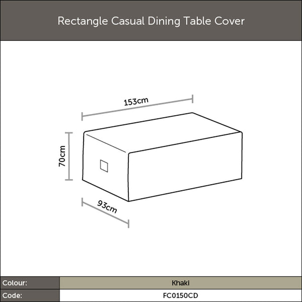 2019 Bramblecrest 150 x 90cm Casual Outdoor Table Cover - Khaki diagram with dimensions