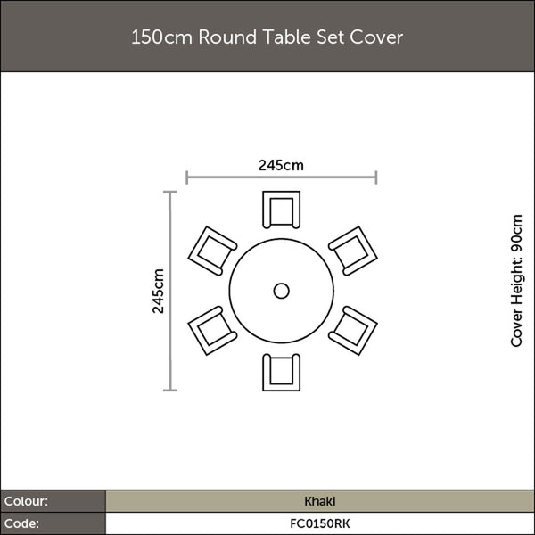 Diagram of 2019 Bramblecrest 150cm Round Table Set with measurements