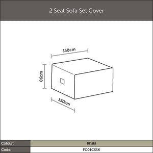 Diagram of 2019 Bramblecrest 2 Seat Sofa Set Cover with measurements