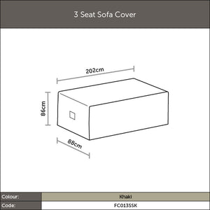 2019 Bramblecrest 3 Seat Outdoor Sofa Cover - Khaki diagram with measurements