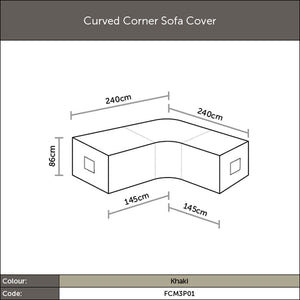 Diagram of 2019 Bramblecrest Curved Corner Sofa Cover with dimensions