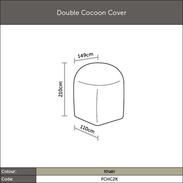 Diagram of 2019 Bramblecrest Double Hanging Cocoon Cover with dimensions