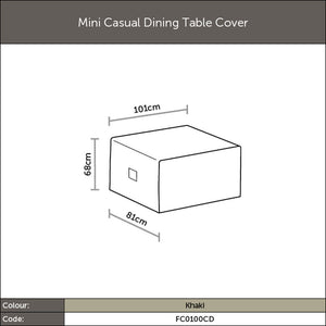 Diagram of 2019 Bramblecrest Mini Casual Dining Table Cover with dimensions