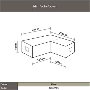 Diagram of 2019 Bramblecrest Mini Sofa Cover - Khaki with dimensions
