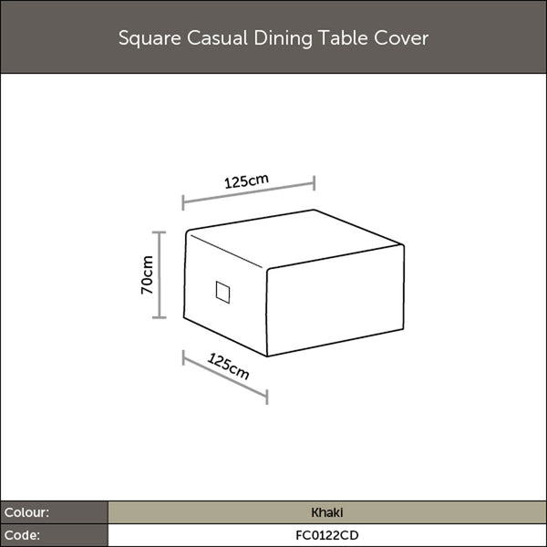 2019 Bramblecrest Casual Square Dining Table Outdoor Furniture Cover - Khaki diagram with dimensions