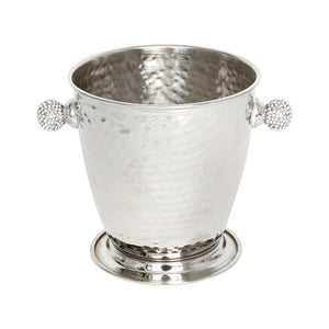 Hammered metal (silver) ice bucket with diamante handles