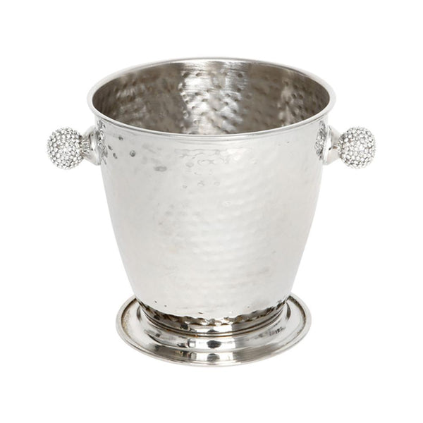 Hammered metal (silver) ice bucket with diamante handles side view on white background