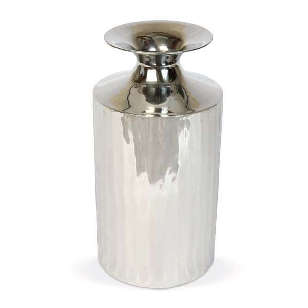 Small metal vase on white background