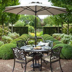 2018 Hartman Capri 4 Seat Dining Set with Round Table - Bronze - with parasol