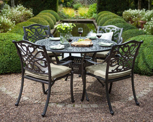 2018 Hartman Capri 4 Seat Dining Set with Round Table - Bronze - on chippings