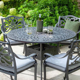 Close Up Of The 2019 Hartman Capri 4 Seater Round Garden Dining Table Surrounded By 4 Dining Chairs
