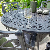 Close Up Of A Glass Of Wine On The 2019 Hartman Capri 4 Seater Round Garden Dining Table
