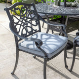 2019 Hartman Capri Antique Grey Outdoor Dining Chair With Platinum Faux Leather Outdoor Cushion In Situ