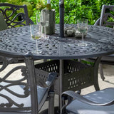 Three Glasses Of Wine On The Hartman Capri 4 Seater Round Garden Dining Table