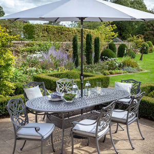 2019 Hartman Capri 6 Seat Oval Garden Dining Table Set - Antique Grey/Platinum cropped image