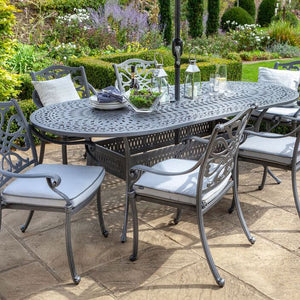 2019 Hartman Capri 6 Seat Oval Garden Dining Table Set - Antique Grey/Platinum2019 Hartman Capri 6 Seat Oval Garden Dining Table Set - Antique Grey/Platinum close up of chairs