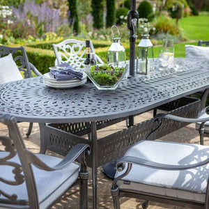 2019 Hartman Capri 6 Seat Oval Garden Dining Table Set - Antique Grey/Platinum close up of table