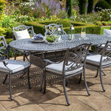 2019 Hartman Capri 6 Seat Oval Garden Dining Table Set - Antique Grey/Platinum with no parasol