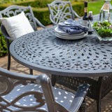 2019 Hartman Capri 6 Seat Oval Garden Dining Table Set - Antique Grey/Platinum taken from end of table