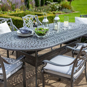 2019 Hartman Capri 6 Seat Oval Garden Dining Table Set - Antique Grey/Platinum with salad and outdoor candles