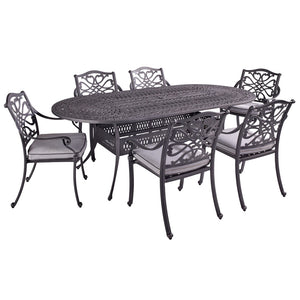 2019 Hartman Capri 6 Seat Oval Garden Dining Table Set - Antique Grey/Platinum cut out