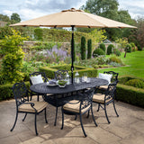 2019 Hartman Capri Bronze 6 Seat Oval Garden Dining Table Set Surrounded By Outdoor Chairs & An Open Solar Parasol