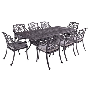 2019 Hartman Capri 8 Seat Rectangular Garden Dining Table Set - Antique Grey/Platinum cut out