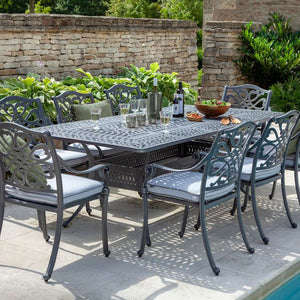 2019 Hartman Capri 8 Seat Rectangular Garden Dining Table Set - Antique Grey/Platinum side angle