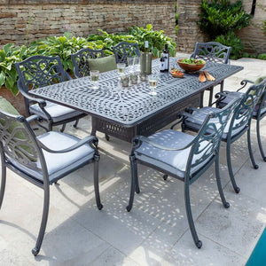 2019 Hartman Capri 8 Seat Rectangular Garden Dining Table Set - Antique Grey/Platinum tucked in chairs