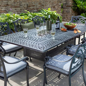 2019 Hartman Capri 8 Seat Rectangular Garden Dining Table Set - Antique Grey/Platinum with salad and wine