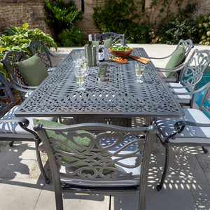 2019 Hartman Capri 8 Seat Rectangular Garden Dining Table Set - Antique Grey/Platinum showing chair back