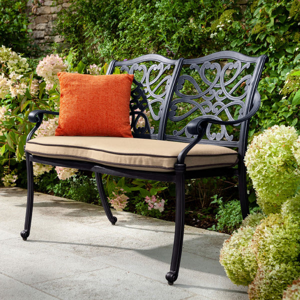 2019 Hartman Capri Bronze 2 Seater Garden Bench With Faux Leather Water-Resistant Cushion In Situ