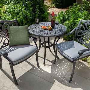 2019 Hartman Capri Garden Bistro Set - Antique Grey/Platinum chairs with cushion