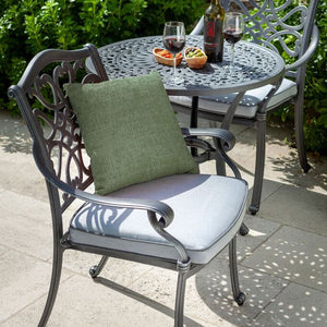 2019 Hartman Capri Garden Bistro Set - Antique Grey/Platinum close up of chair