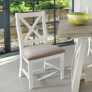 The White and Grey 1.6m Extending Dining Table Set