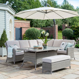 2019 Kettler Charlbury Corner Casual Dining Set with parasol open