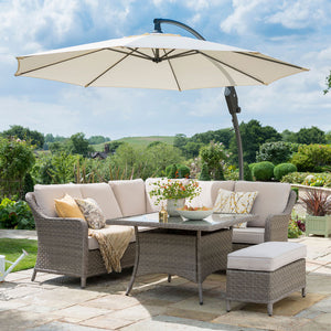 2019 Kettler Charlbury Mini Casual Dining Corner Set with parasol