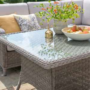 2019 Kettler Charlbury Mini Casual Dining Corner Set - table set with flowers and fruit