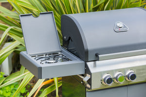 Grillstream Stainless Steel Gas BBQ 3 Burner close-up of steak shelf