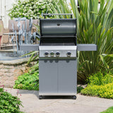 Grillstream Stainless Steel Gas BBQ 3 Burner on patio with lid open