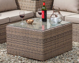 light brown 2018 hartman essential outdoor coffee table in situ