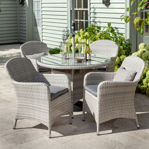 2019 Hartman Curve 4 Seat Round Garden Dining Table Set - Cool Grey / Charcoal close up of chairs on patio