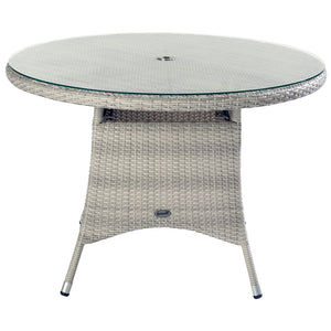 2019 Hartman Curve 4 Seat Round Garden Dining Table Set - Cool Grey / Charcoal table on white background