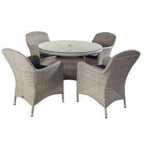 2019 Hartman Curve 4 Seat Round Garden Dining Table Set - Cool Grey / Charcoal table and chairs on white background